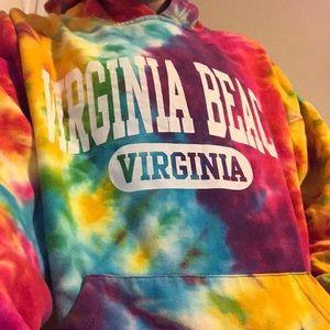 rainbow tie dye beach hoodie
